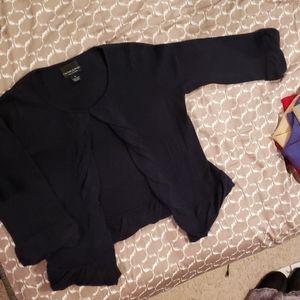 Cashmere Ruffle 3/4 sleeve open cardigan